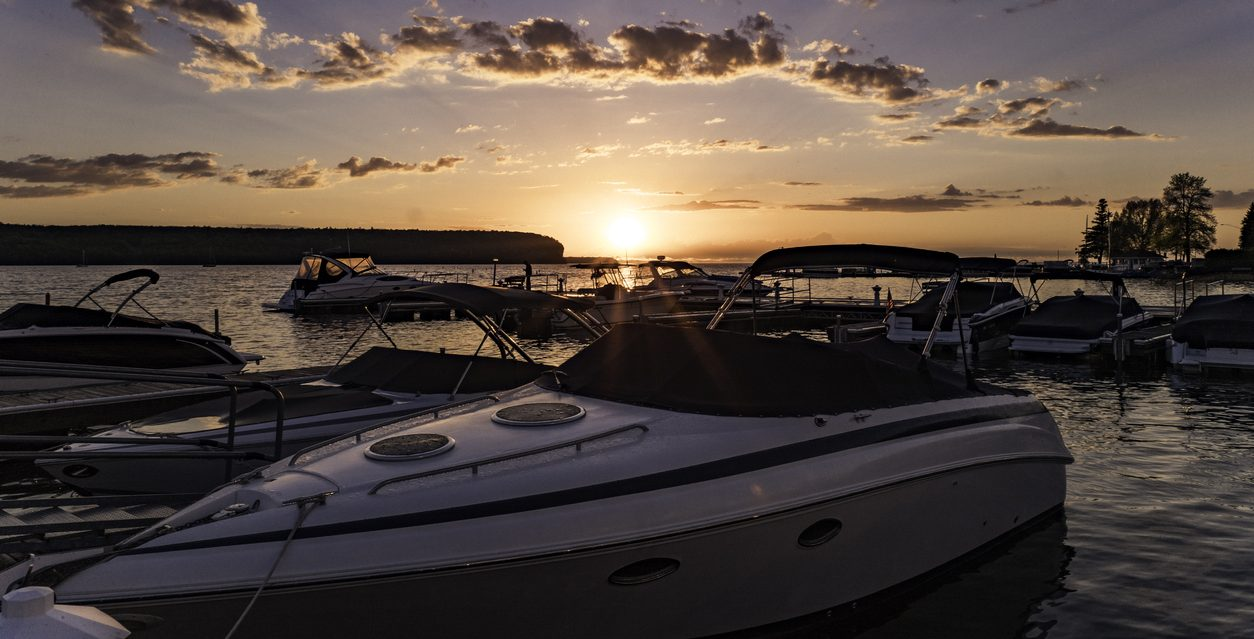 Speed Boats Docked at Sunset